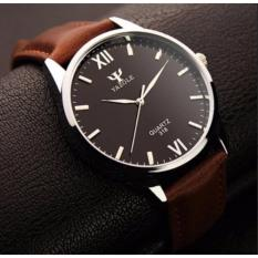 Đồng hồ Nam dây da Yazole 318 – Nâu mặt đen