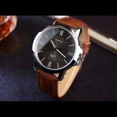 Đồng hồ nam dây da Yazole 332 – Mặt đen, dây nâu