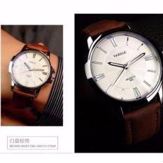 Đồng hồ Nam dây da Yazole 332 – Nâu mặt trắng
