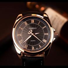 Đồng hồ nam dây da Yazole 336 (Đen)