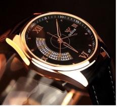 Giá Sốc Đồng hồ nam dây da Yazole 337 (Đen-Mặt Đen).