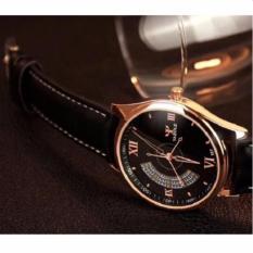 Đồng hồ nam dây da Yazole 337 (Đen-Mặt Đen).