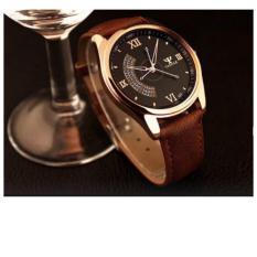 Đồng hồ nam dây da Yazole 337 (Nâu-Mặt Đen).