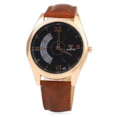 Đồng hồ nam dây da Yazole 337 TimeZone (Dây Nâu, Mặt Đen)