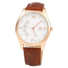 Đồng hồ nam dây da Yazole 337 TimeZone (Dây Nâu, Mặt Trắng)