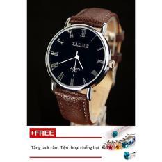 Đồng hồ nam dây da Yazole PKHRYA007-11 (nâu mặt đen) + Tặng 1 jack chống bụi cho điện thoại
