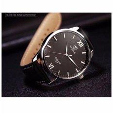 Đồng hồ nam dây da Yazole YR318 (Đen – Mặt đen)