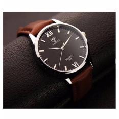 Đồng hồ nam dây da Yazole YR318 (Nâu – Mặt đen)