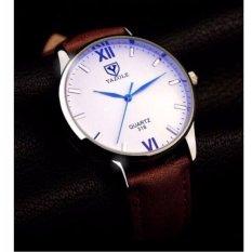 Đồng hồ nam dây da Yazole YR318 (Nâu – Mặt trắng)