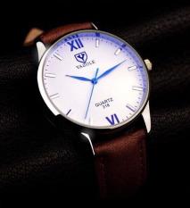 Đồng hồ nam dây da Yazole YR318- Nk541 (Nâu – Mặt Trắng).
