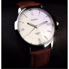 Đồng hồ nam dây da Yazole YR332 (dây nâu mặt trắng)
