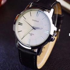 Đồng hồ nam dây da Yazole YR332 (Đen mặt trắng)