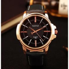 Đồng hồ nam dây da Yazole YR358 (Đen – Mặt đen)