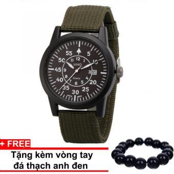 Đồng hồ nam dây dù lính SINO JAPAN MOVT SN01229 (Xanh). + Tặng kèm vòng tay thạch anh đen