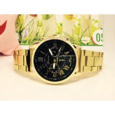 Đồng hồ nam dây hợp kim Geneva (mặt đen)