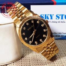 Đồng hồ nam dây hợp kim mạ vàng không gỉ HALEI M356F (Mặt đen)