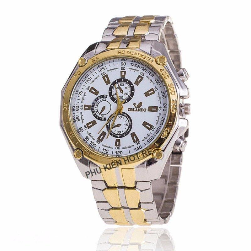 Nơi bán Đồng hồ nam dây hợp kim Orlando PKHROR001-5 (Viền vàng mặt trắng)