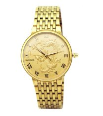 Đồng hồ nam dây kim loại chạm rồng Baishuns DM067 (Vàng)