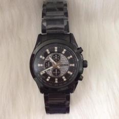 Đồng hồ nam dây kim loại Halei mặt đính đá (Đen)