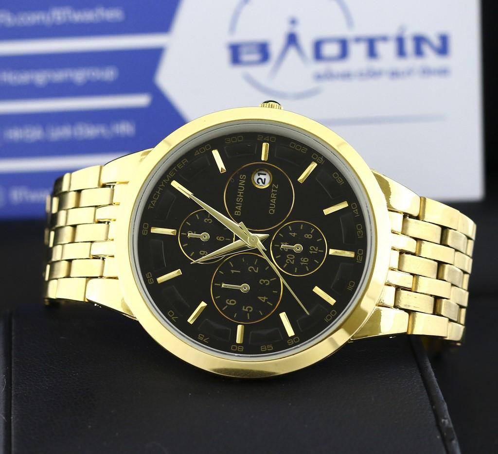 Đồng hồ nam dây kim loại mạ vàng BAISHUNS 9886 (Đen)