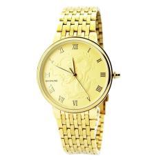 Đồng hồ nam dây kim loại mặt khắc rồng (Vàng)