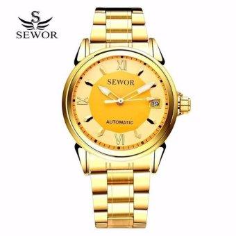 Đồng hồ nam dây kim loại SEWOR TP8228 (Mặt vàng)