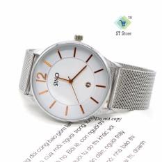 Đồng hồ nam dây lụa thời trang SINO ST-S7155 (trắng)
