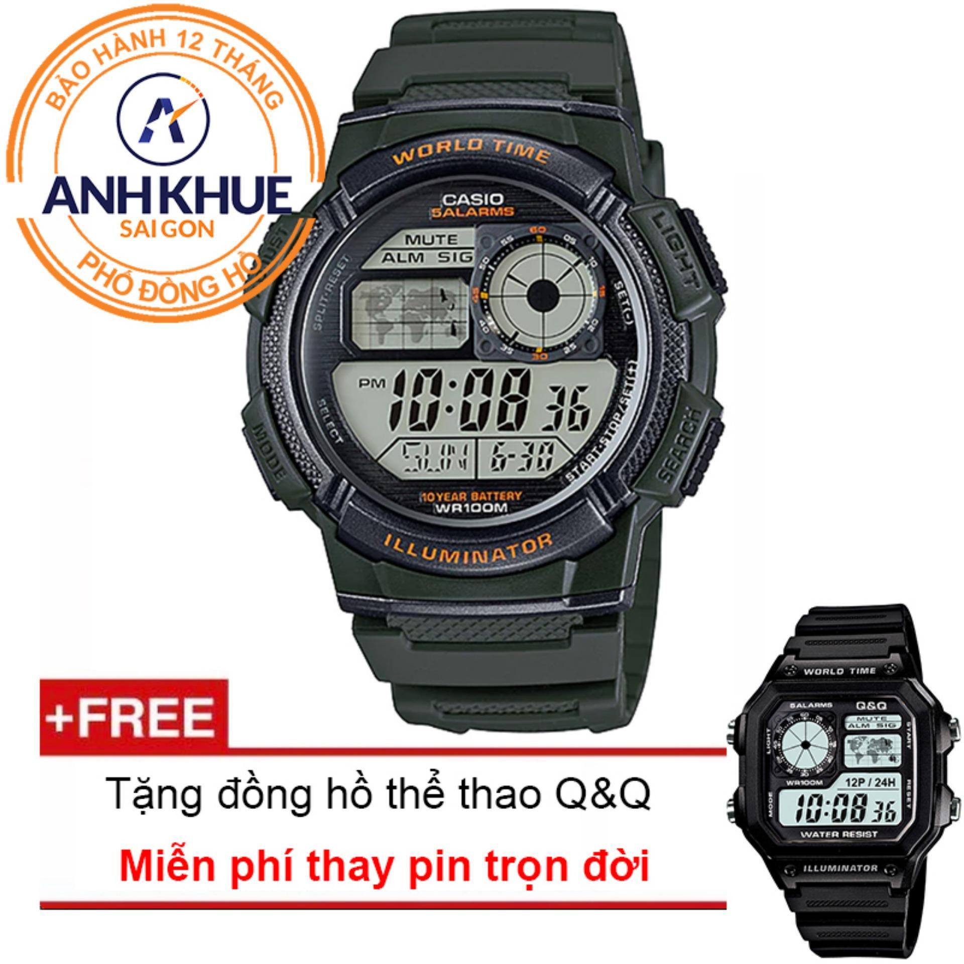 Đồng hồ nam dây nhựa Casio Anh Khuê AE-1000W-3AVDF + Tặng đồng hồ thể thao Q&Q