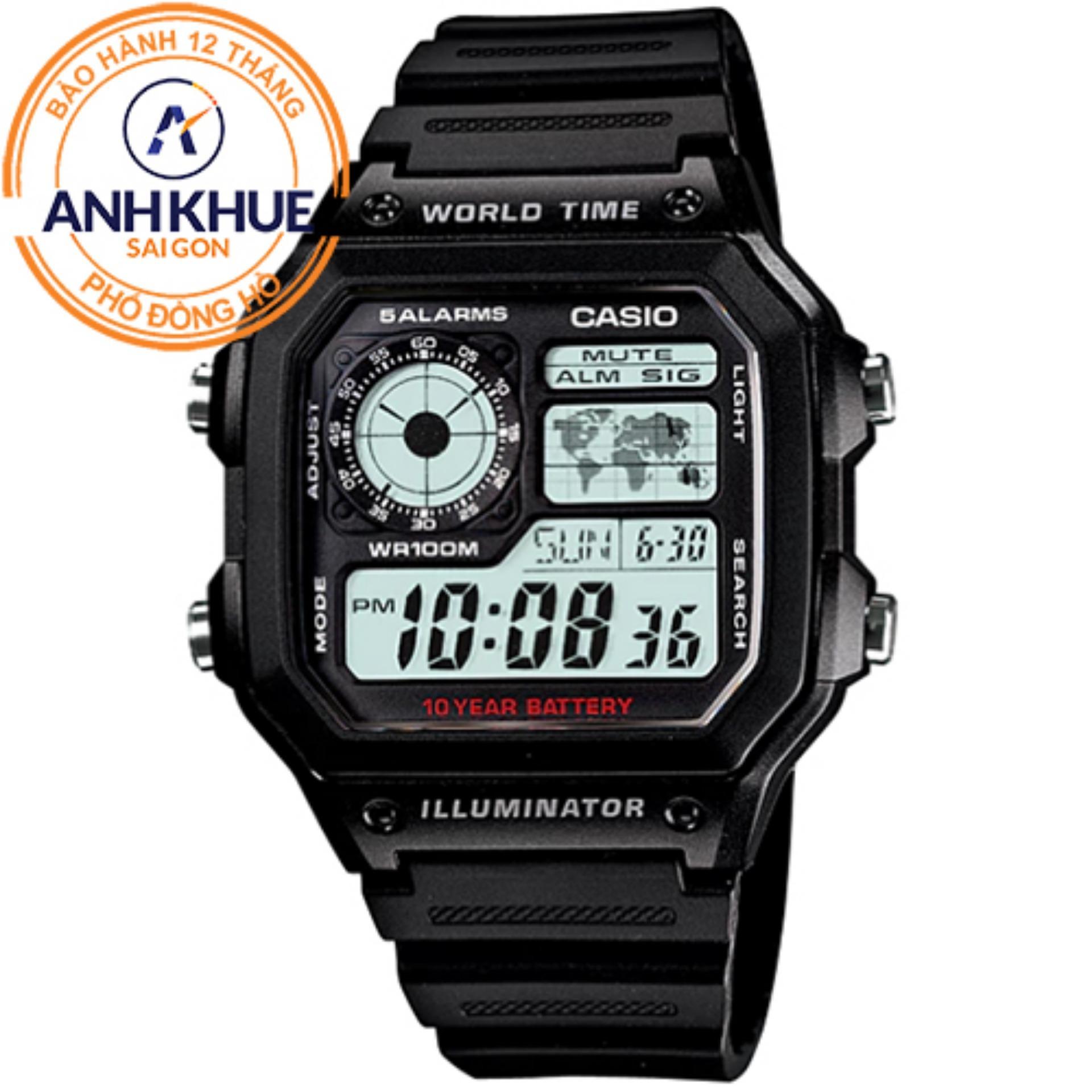 Đồng hồ nam dây nhựa Casio Anh Khuê AE-1200WH-1AVDF