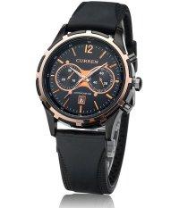 Đồng hồ nam dây silicon cao cấp Curren 2774 (Viền vàng – mặt đen)