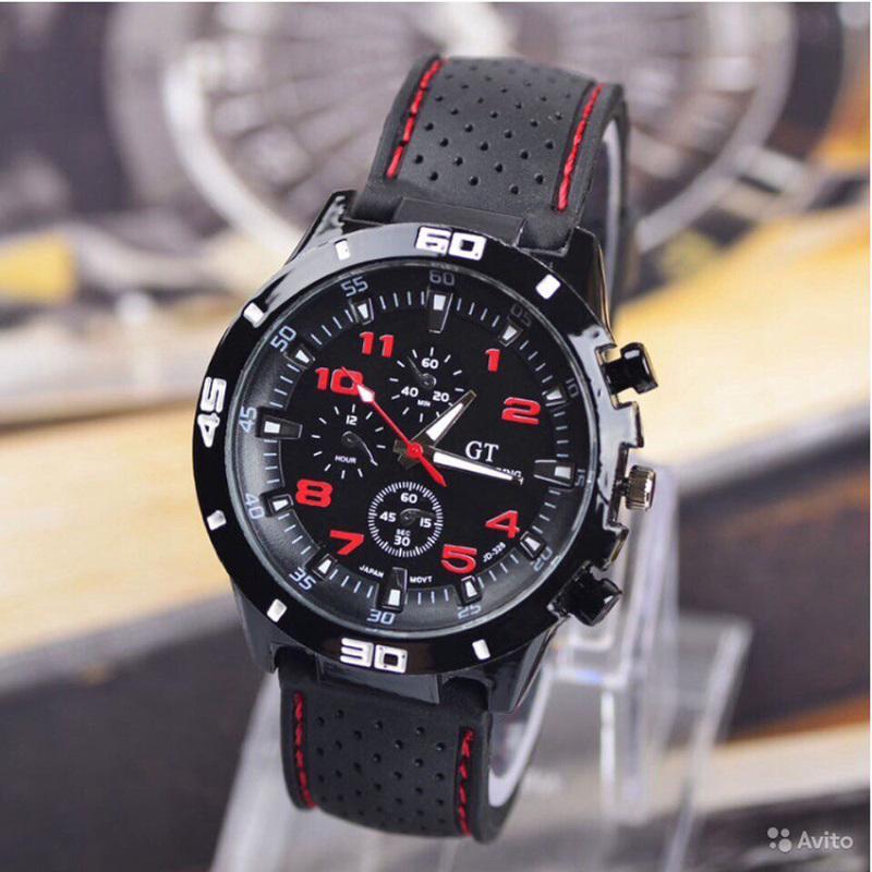 Nơi bán Đồng hồ nam dây silicon thời trang (Đen phối đỏ)