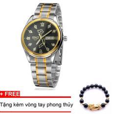Đồng hồ nam dây thép, bản đồ Việt Nam SINO (Mặt đen) TPO-S8688, tặng vòng tay đá đen