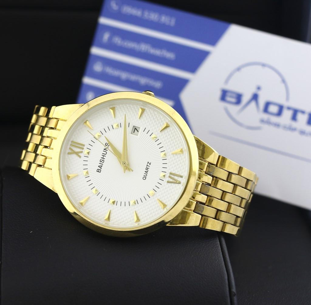 Đồng hồ nam dây thép chống gỉ mạ vàng BAISHUNS 6869 (Trắng)