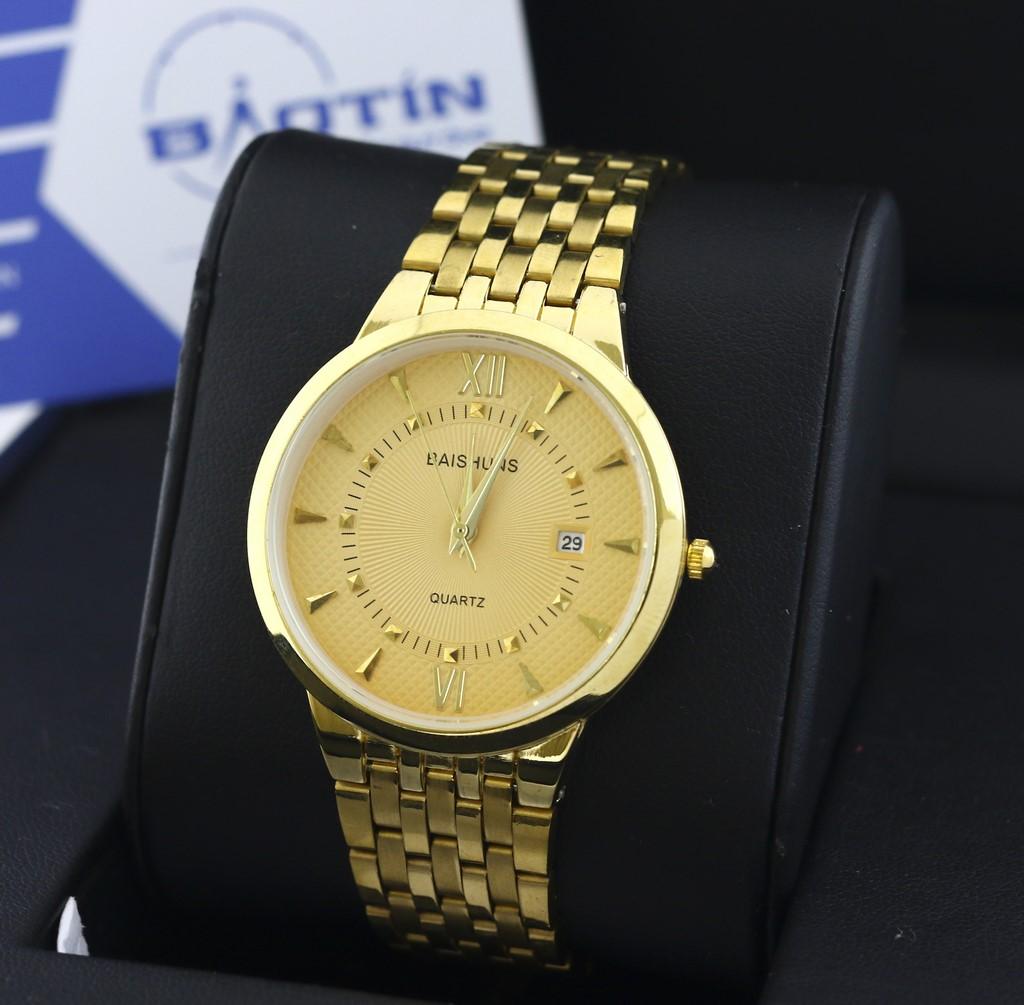 Đồng hồ nam dây thép chống gỉ mạ vàng BAISHUNS 6869 (Vàng)