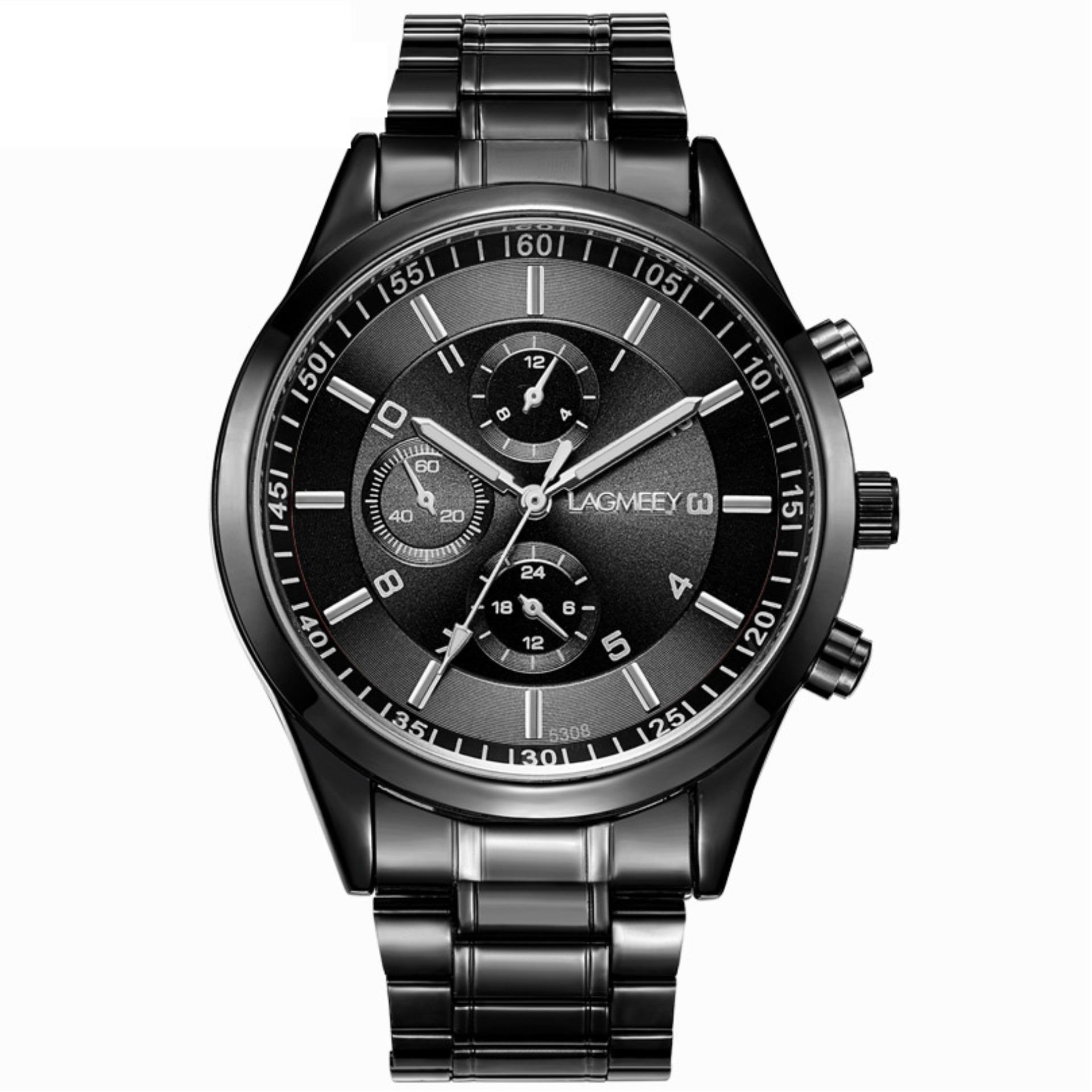 Đồng hồ nam dây thép đen cao cấp BOSCK 8251