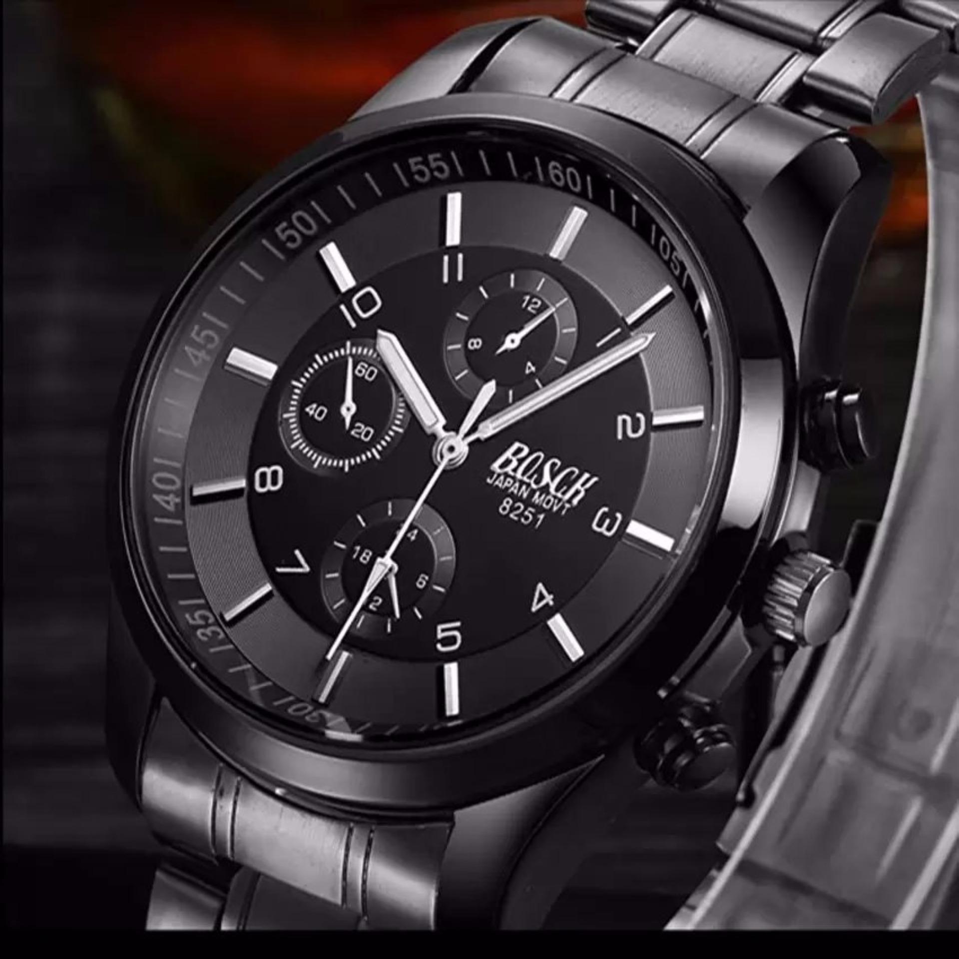 Đồng hồ nam dây thép đen cao cấp BOSCK 8251(Dark Grey)