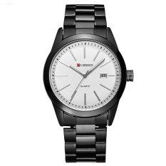 Đồng hồ nam dây thép đen không gỉ CURREN DHCR118 (Mặt trắng)