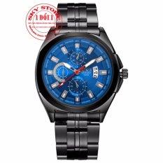 Đồng hồ Nam dây thép đen thương hiệu BOSCK 5452A (Mặt Xanh)