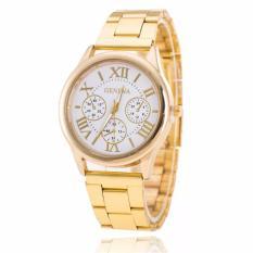 Đồng hồ nam 3H Fashion dây thép Geneva Golden (Mặt Trắng, Dây Vàng) + Tặng Kèm Hộp