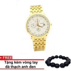 Đồng hồ Nam dây thép hợp kim cao cấp BAISHUNS mã BSH03 Mặt trắng