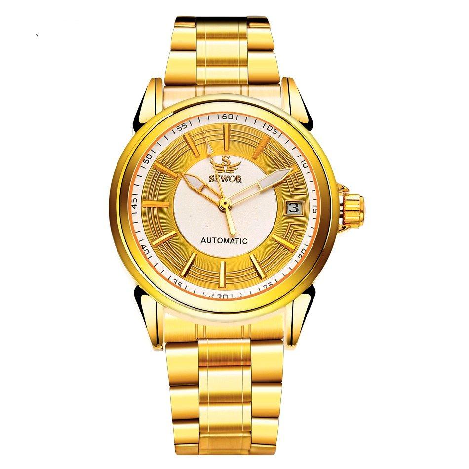 Đồng hồ nam dây thép không gỉ AUTO SEWOR gold SEG1256 (Vàng)