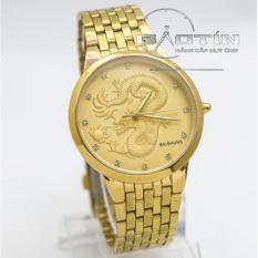 Đồng hồ nam dây thép không gỉ Baishuns 6910 mặt rồng vàng