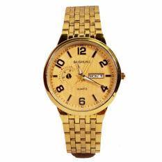 Đồng hồ nam dây thép không gỉ cao cấp BAISHUNS BS0012K ( Mặt vàng )