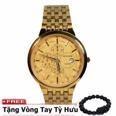 Đồng hồ nam dây thép không gỉ cao cấp BAISHUNS BS3 ( Mặt vàng )+ tặng kèm vòng tay tỳ hưu