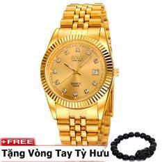 Đồng hồ nam dây thép không gỉ cao cấp BOSCK BK3308A ( Mặt vàng ) + tặng kèm vòng tay tỳ hưu