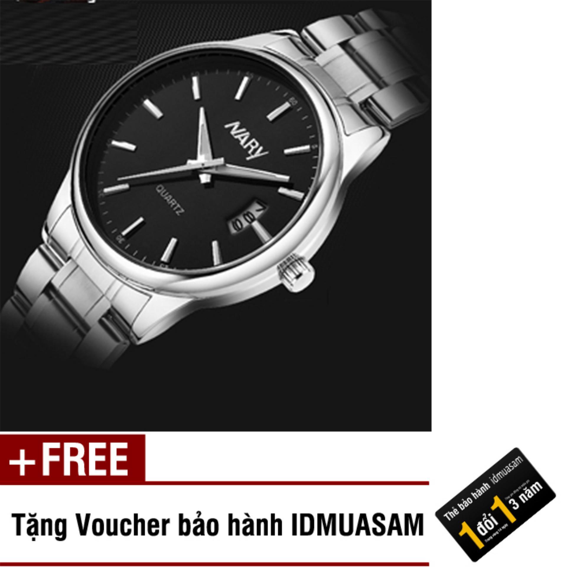 Đồng hồ nam dây thép không gỉ cao cấp Nary 2521 (Mặt đen) + Tặng kèm voucher bảo hành IDMUASAM