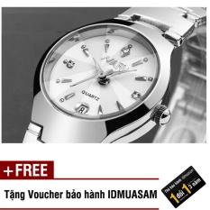 Đồng hồ nam dây thép không gỉ cao cấp Nary 2563 (Mặt trắng) + Tặng kèm voucher bảo hành IDMUASAM