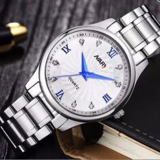 Đồng hồ nam dây thép không gỉ cao cấp Nary 6126 (Mặt trắng-Kim xanh)