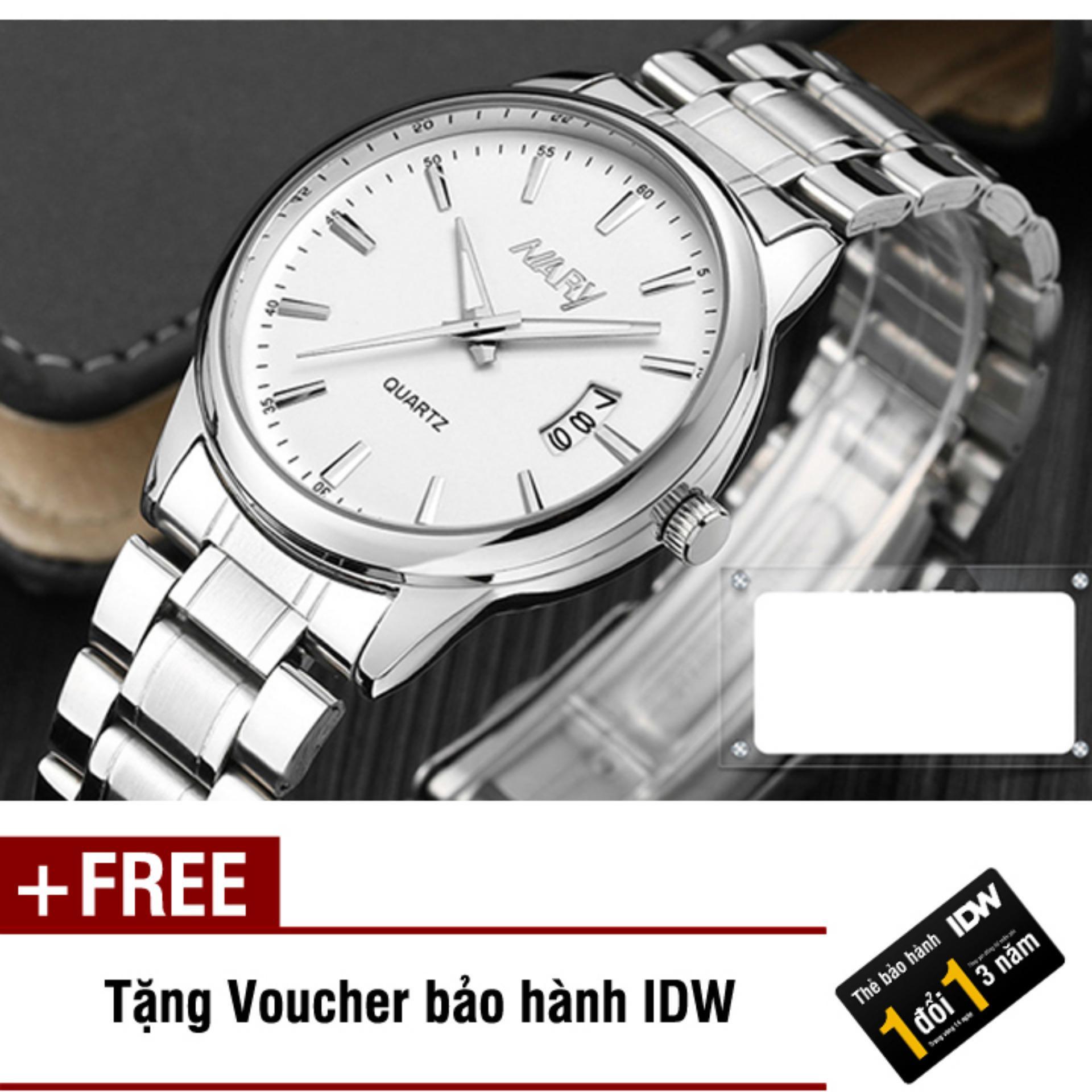 Đồng hồ nam dây thép không gỉ cao cấp Nary IDW 2522 (Mặt trắng) + Tặng kèm voucher bảo hành IDW