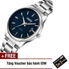 [SP Freeship]Đồng hồ nam dây thép không gỉ cao cấp Nary IDW 2523 (Mặt xanh) + Tặng kèm voucher bảo hành IDW
